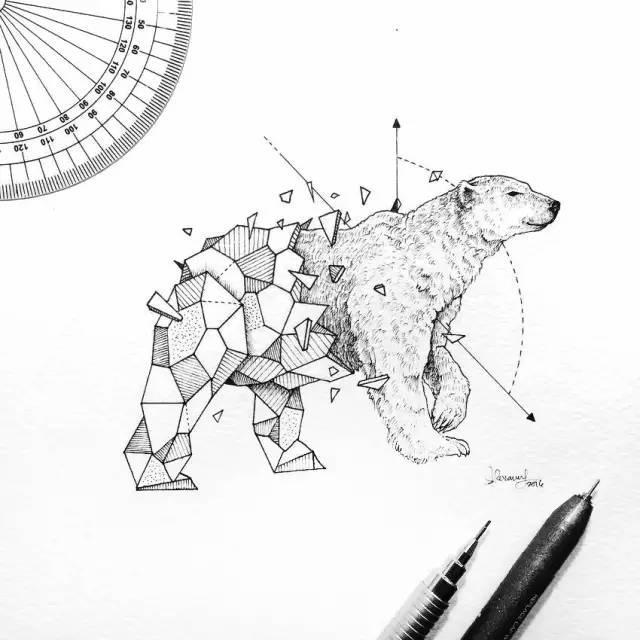 几何图形与野生动物的巧妙结合!图片