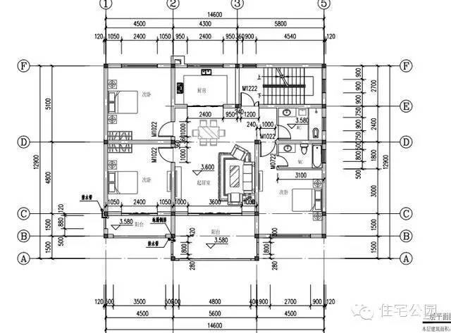 微信公众号:住宅公园,免费300套别墅自建房户型图纸,免费3套装修设计