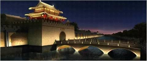 古风 夜晚 城楼 手绘