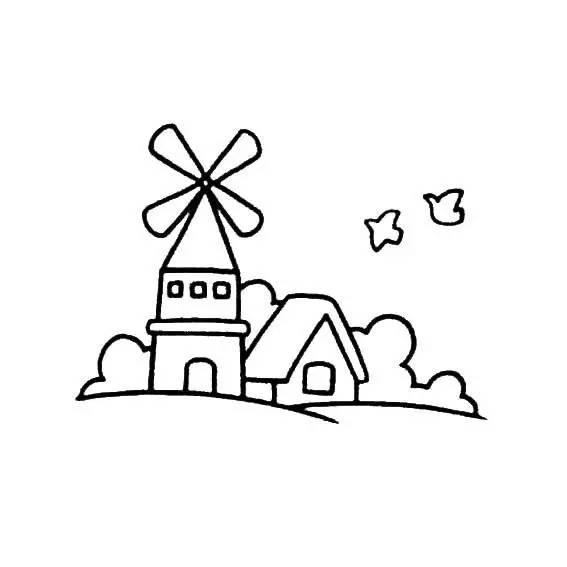 如何画小学生风景 风车城堡简笔画 风景简笔画 儿童简笔画图片大全