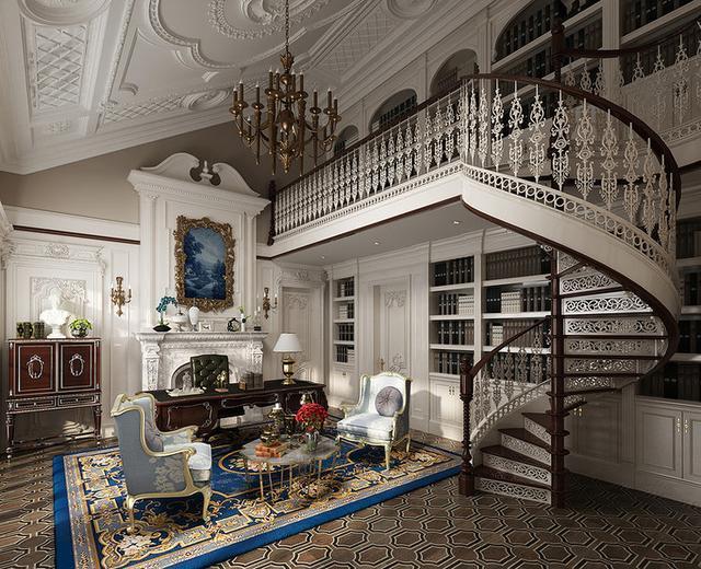 旋转楼梯,欧式壁橱,法式的浪漫融入其中