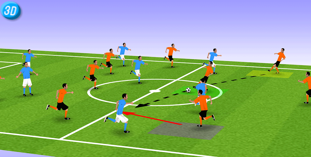 A.OK球队的队员形成三角跑位的 蓝队球员在控球,A.OK球队后卫