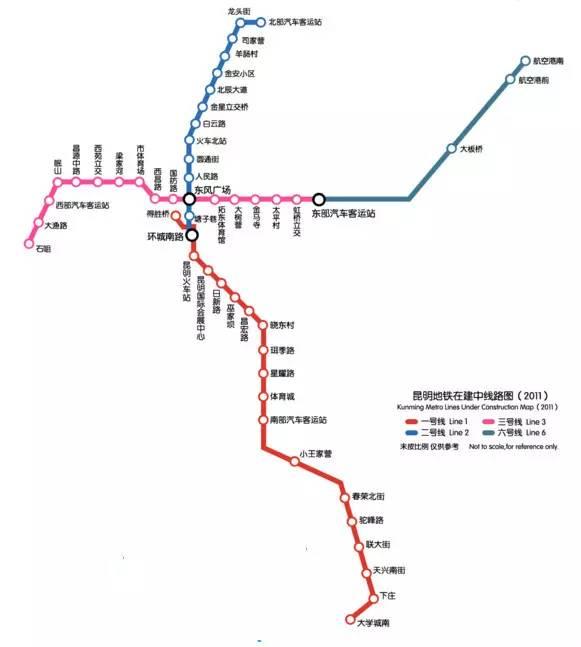 5号线开建,滇池路围挡,昆明地铁线路最新详细走向图曝光