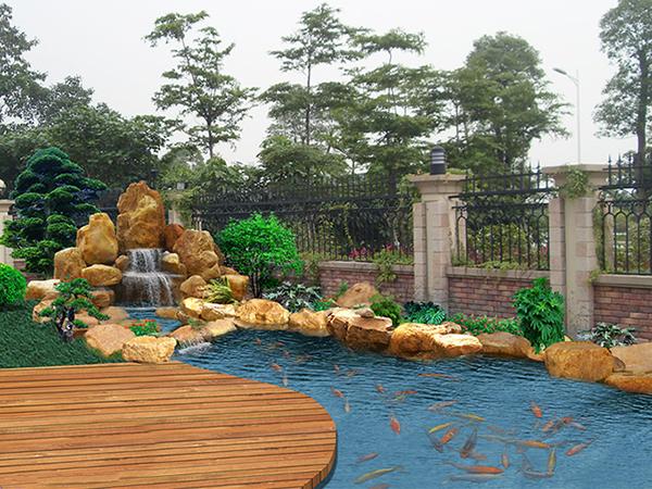 上海高端别墅装修 假山鱼池来陶冶情操