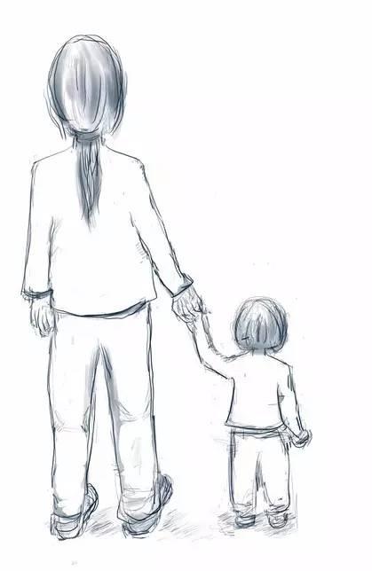 暖心母爱插画手绘