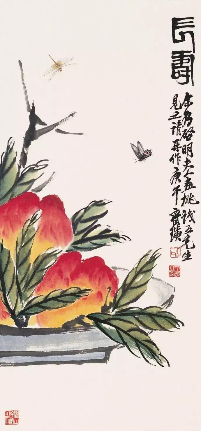 齐白石画桃国画作品欣赏