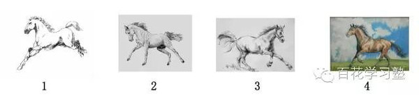 "(ipad) ①""奔驰的骏马""(三张是铅笔画,一张是彩笔画) 1."