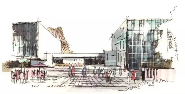 透视的手绘表现角度,这样的角度一般来说建筑的空间感表现相对会呆板