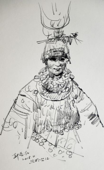 苗族女孩简笔画