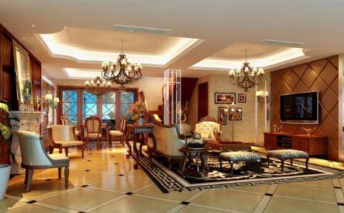 欧式客厅吊顶装修效果图-岚庭装饰