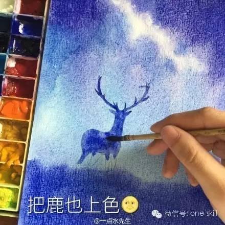星空鹿水彩画手绘教程-完- 如果你也喜欢这种感觉的水彩画,那就拿起