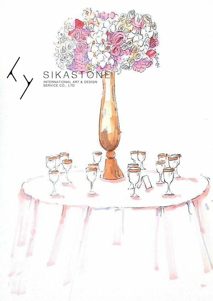 婚礼宴会桌花马克笔上色 精美的甜品台也为这场婚礼加分不少