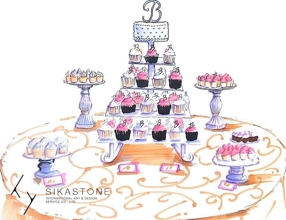 手绘甜品台图片