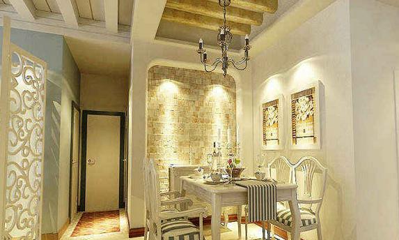 着木制方形茶几,白色的镂空隔断设计点缀在房间中间
