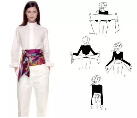 也是运用丝巾最不容易出错的一个搭配方法 丝巾的九种系法: 一 二 三