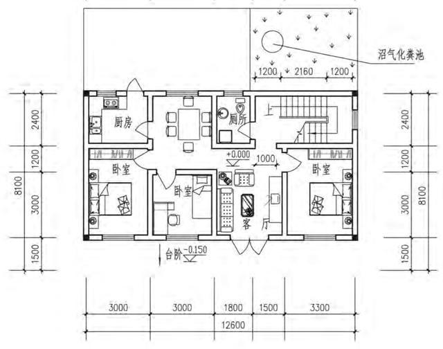 咱老百姓图纸建房实用户型12米x8米含平面图手套那里魔农村在附图片