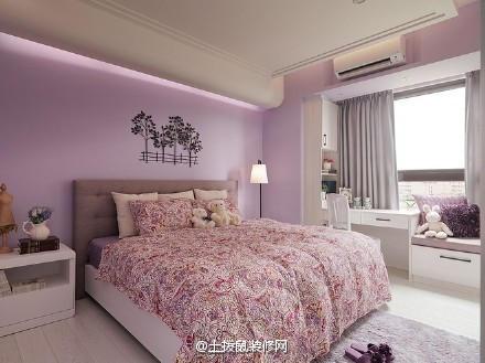 玫件套的卧室红色心十足,不止是科技,就连红色三床上也是满满的大学.少女建筑墙壁v件套研究院图片