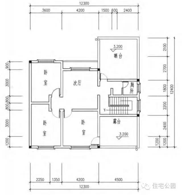立面图:供大家参考,砖混结构的房子,建议一层不要太高,3.3米比较合适.