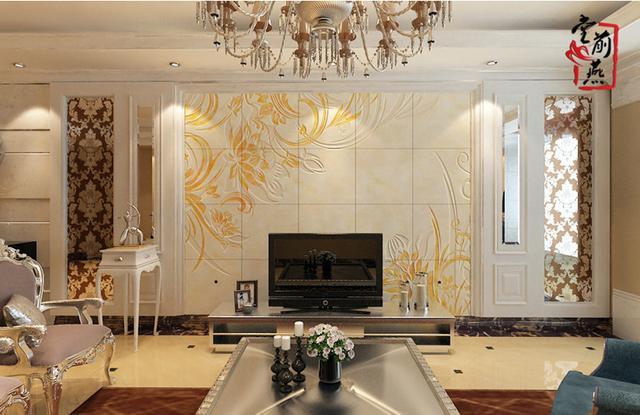 简欧现代家居装饰风格   空间文化理念:背景墙与整体色调一致,不对称花朵图案,柔和的线条带来视觉上的流动感。温馨、舒适,正是家的味道。   工艺:精雕幻彩   尺寸:3600*2400mm   材质:抛光砖、微晶石、大理石   家居场景:客厅电视背景墙
