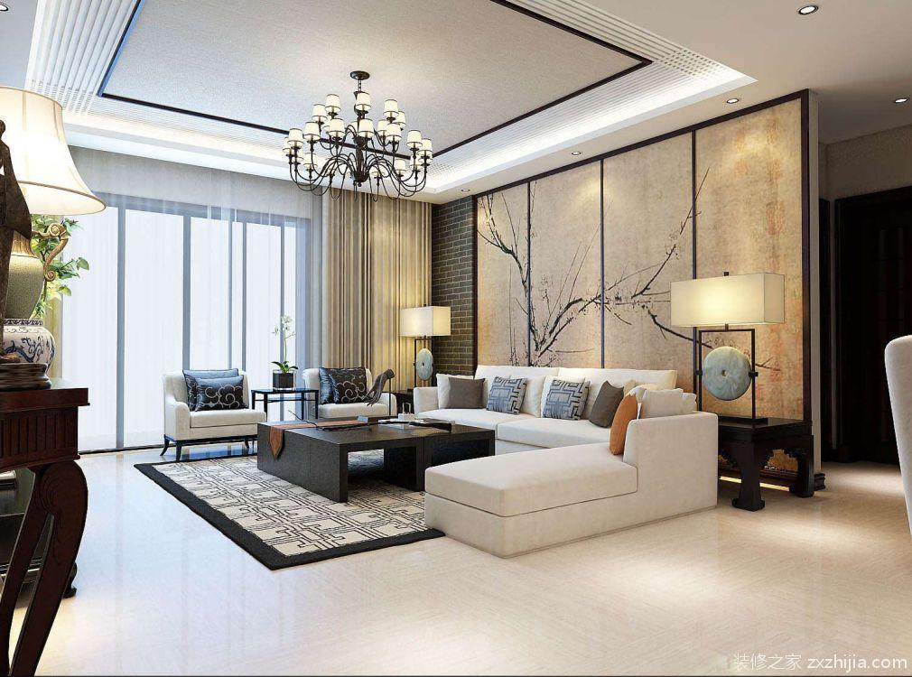 电视背景墙用的是不同的中式壁画,做的是与玄关相呼应的造型,顶面则用图片