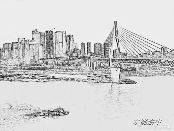 千厮门大桥手绘