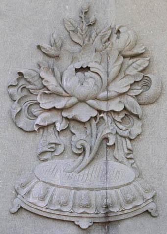 石雕壁画佛八宝八吉祥浮雕图