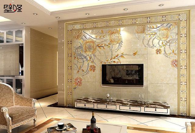 欧式风格的瓷砖电视背景墙装修