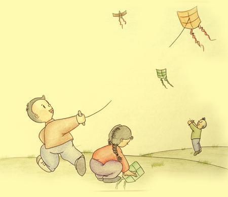 放风筝-致儿童节 那些年,我们一起过的童年图片