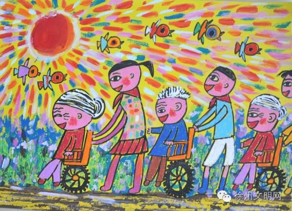 文明旅游儿童手绘