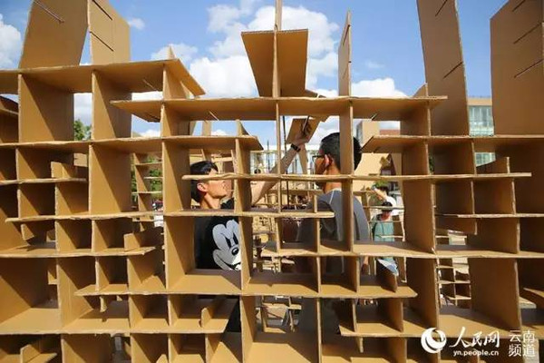 昆明大学生用纸板盖房子