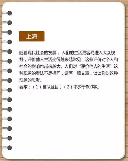 上海常遇到的高考作文题目