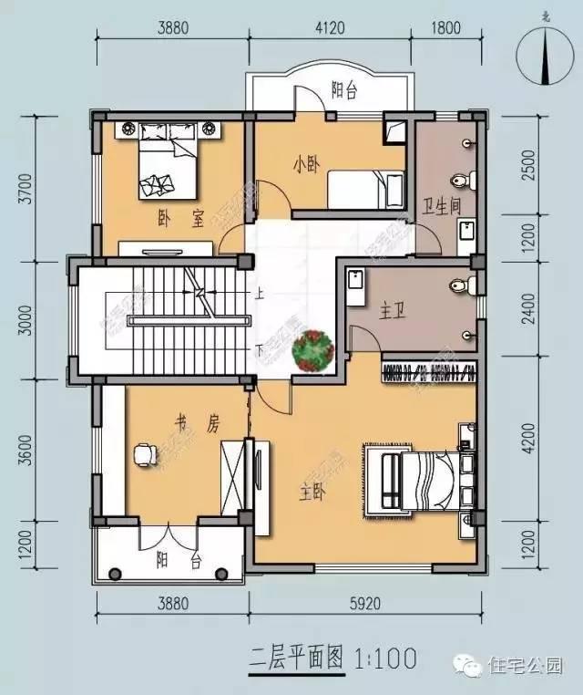 新农村自建房 3层带堂屋户型11x10米