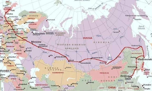 西伯利亚铁路,总长9288公里,从莫斯科到符拉迪沃斯托克