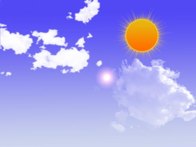 用PS制作的蓝天 白云 红太阳