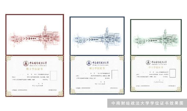 设计内涵   简洁自然的文武线、方直角、香槟金,边框尽量简化,天然去雕饰;   在红蓝绿颜色基础上变化而成的幽橘红、寒波蓝、青城绿,在古朴典雅中独具特色;   从货币金融历史博物馆到南湖校区滨湖的獬豸,引申而来獬豸环绕古币的角标,在显示学校独特环境的同时也凸显了财经与政法并行的专业特色。   学士学位证书