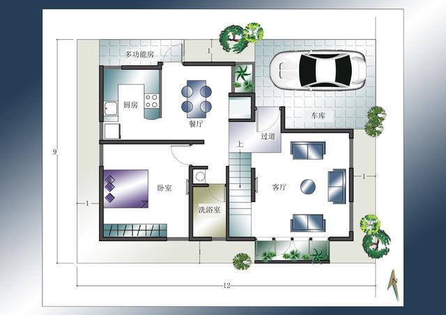 自建房8x13米平面图-9x12米自建房效果图|8米宽12米长房屋设计图|8米x