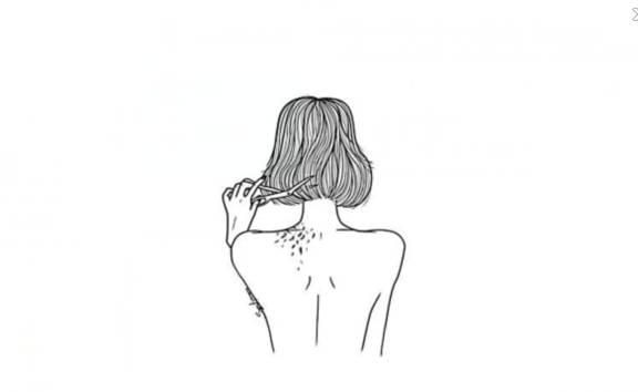 手绘短头发女孩