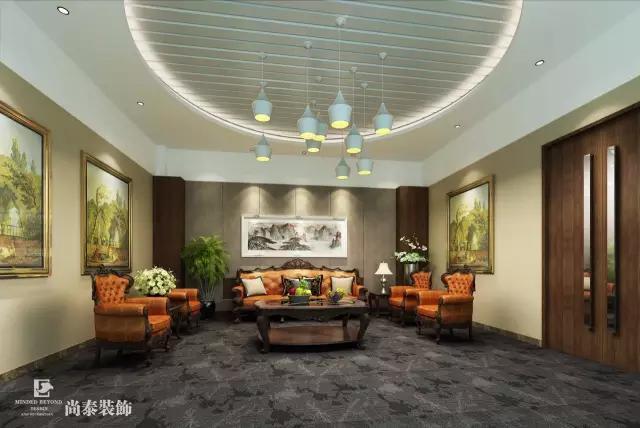 现代风格的接待室搭配着欧式风格的沙发茶几