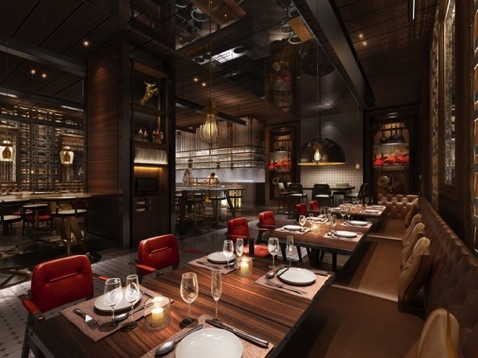 """入口醒目的""""char   恰""""餐厅标志,美式古典火炉和客人定制刀具储藏柜图片"""