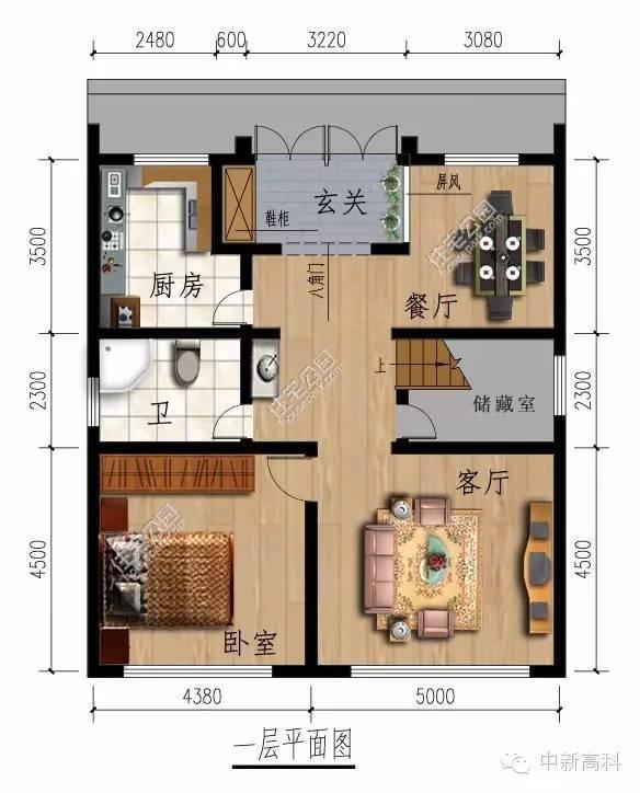 新农村中式民居自建房 10米x11米 坐南朝北图片