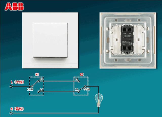 图2 双控开关示例和接线图 双控开关有三个接线端子,通常公共端被标识为COM,另外两个端子被标识为L1和L2,接线时要按照图2中的接线示意图进行连接,要确保两个开关的COM端子分别连接到火线端和负载端,通过图2的示意图我们可以看到,通过K1,K2两个不同位置的开关实现了对同一个灯的控制。 那如果想在三个不同位置实现对同一个灯的控制,该如何选择开关呢?这时就需要用到另一种连接方式的开关,叫做双控换向开关,有称中间开关,从名称中我们就可以判断它的作用是实现电路换向的,它的安装位置是安装在中间。