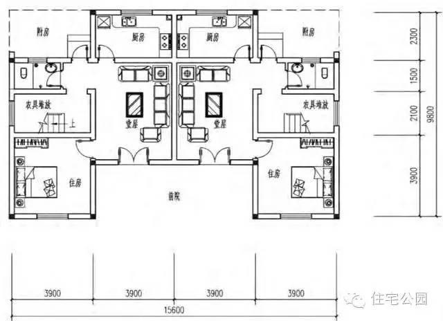新农村兄弟双拼自建房 16米x10米 带堂屋含平面图图片