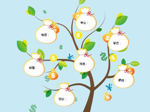 金融岗位求职摇钱树创意型个人简历封面图片