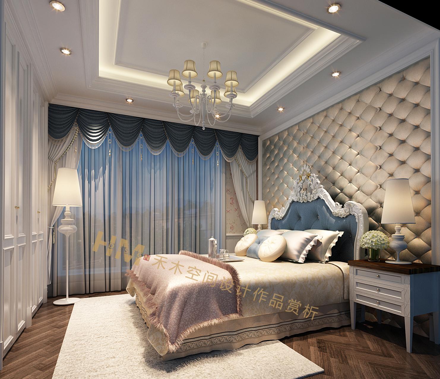 床头背景使用了软包背景墙