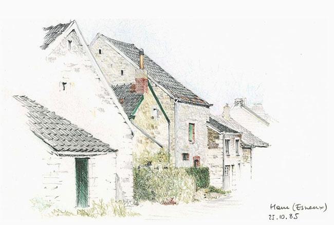 八,村落手绘建筑物素描图