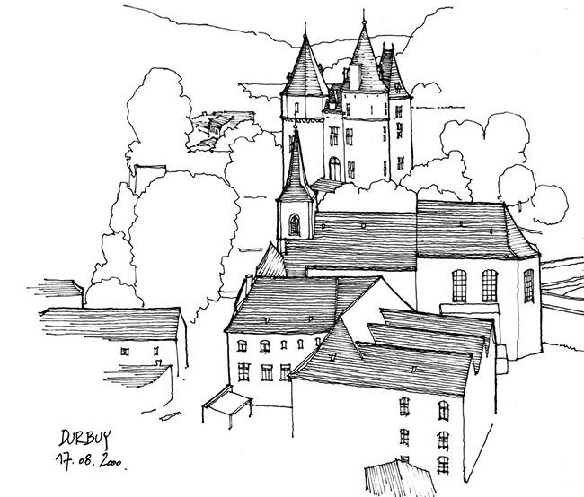 九,欧洲建筑物素描图
