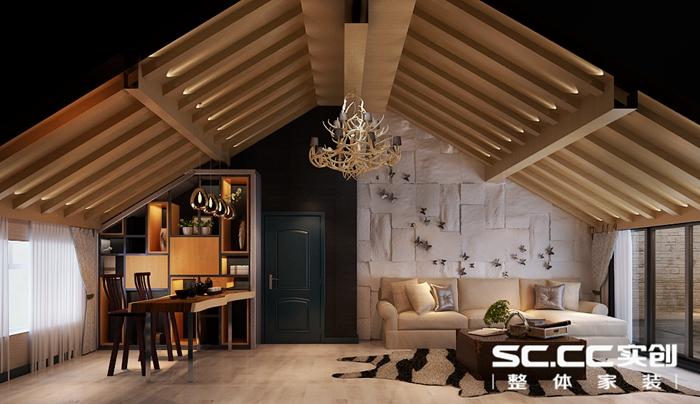 客厅装修效果图 客厅位置属于顶楼,有斜坡位置,设计师度独特的设计