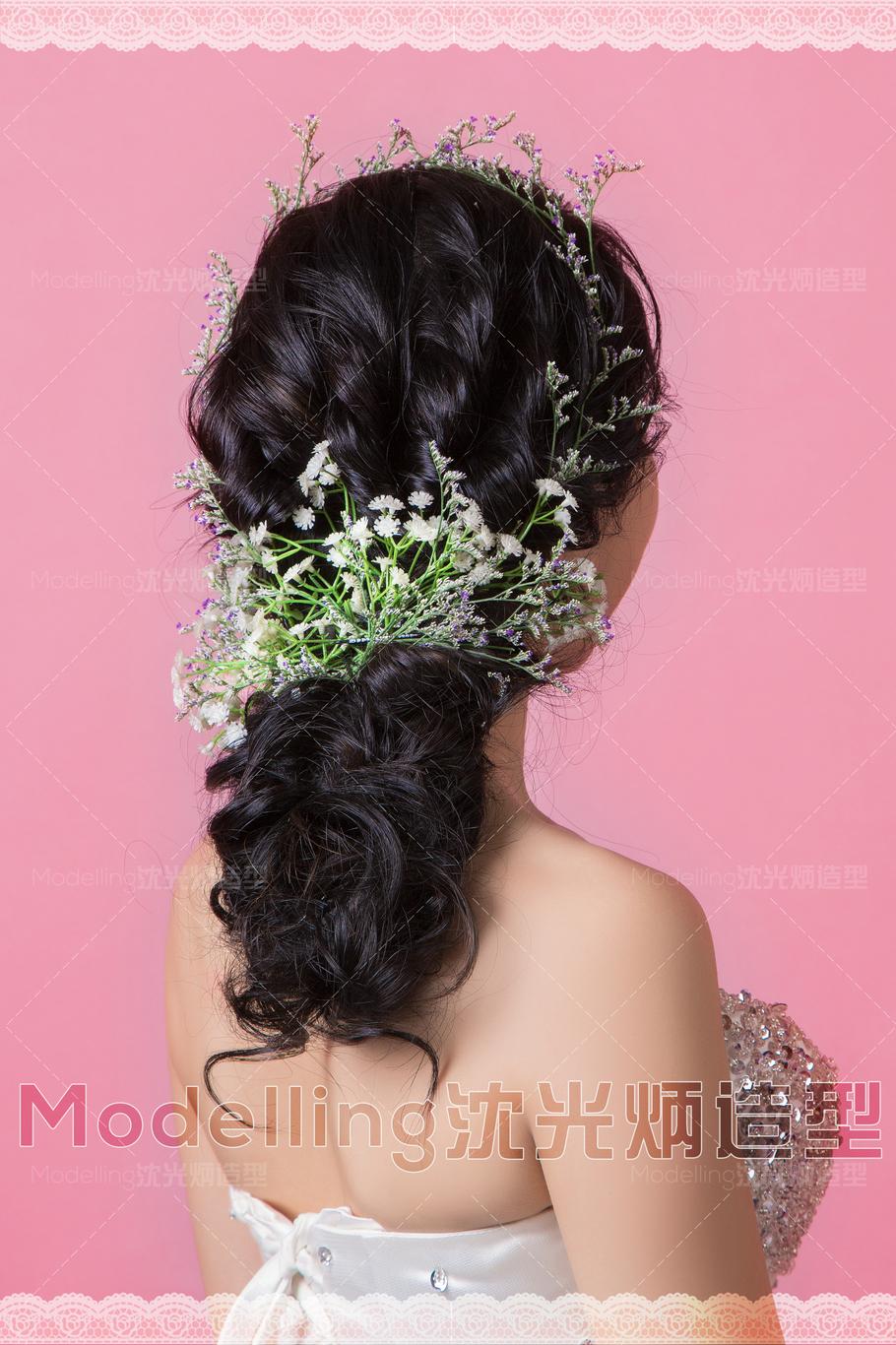沈光炳造型-扎发编发盘发鲜花新娘发型(图38)图片