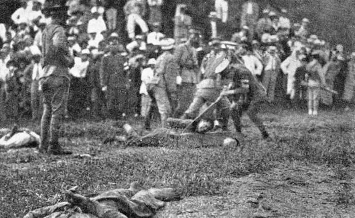 日伪军用战士残害东北义勇军美女级铡刀大图片