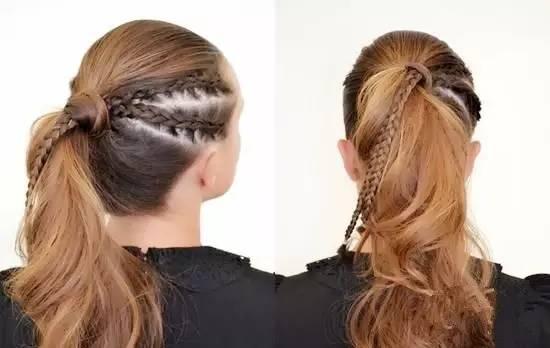 除了上面这样的编一头的编发,这样只编前面的丝带编发也是关晓彤尝试过的朋克风造型呢。 原本小家子气的麻花辫,渐入丝带之后更显个性呢,更符合年轻MM的需求。